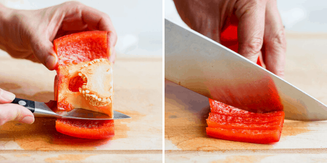 side by side pictures of a knife cutting the core from a bell pepper half and a knife cutting a bell pepper into strips