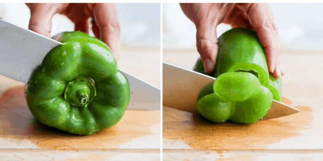 side by side pictures of knife cutting the top and bottom off a green pepper