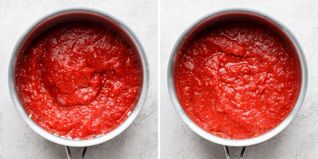 two pots side by side with marinara sauce in them