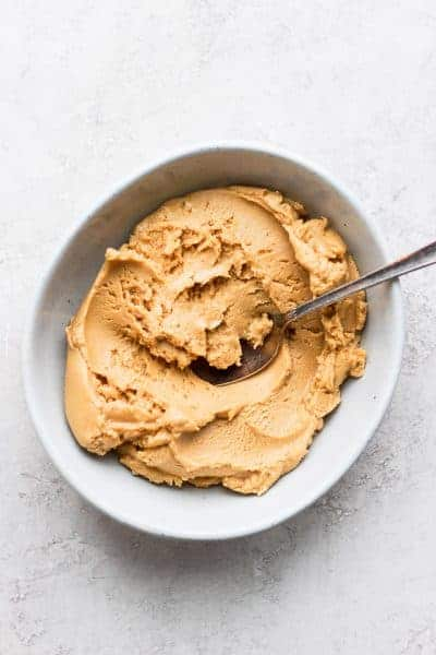 homemade peanut butter in a bowl