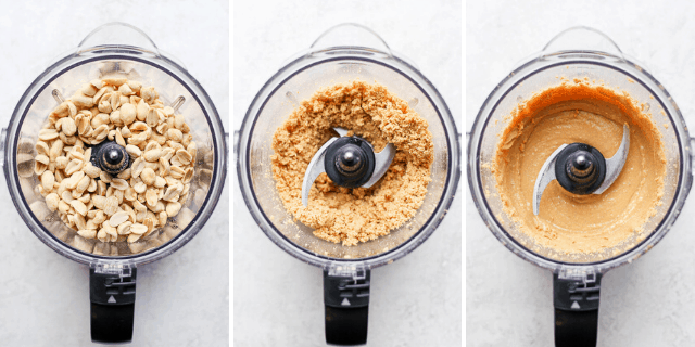 side by side shot of peanuts in a blender being chopped