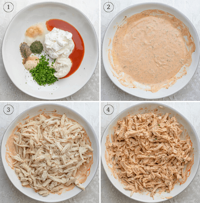 Collage of the steps to make the buffalo ranch dressing, mix it, then add the shredded chicken on top and mix