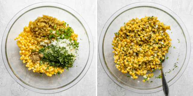 Collage of all the ingredients in a bowl before and after mixing