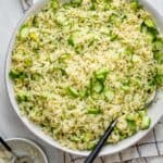 Large bowl of cucumber lemon orzo salad