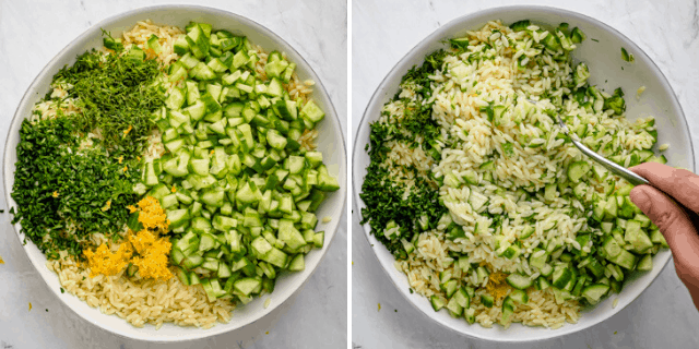 Collage showing all the ingredients together before and after mixing
