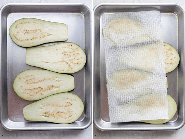 Process shots showing how to sweat the eggplant and then dry it