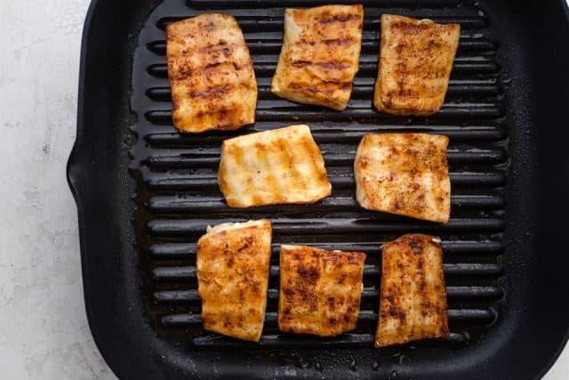 Mahi Mahi fillets on an indoor grill pan