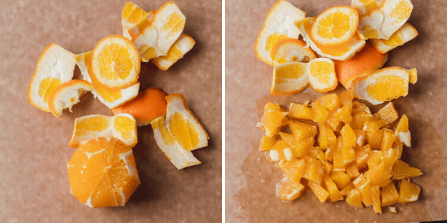 Collage showing how to peel the orange for the citrus salsa