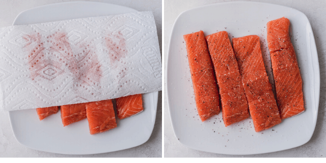 Collage showing how to dry the salmon and then season with salt and pepper