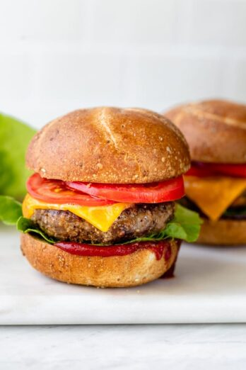 Homemade hamburgers with condiments