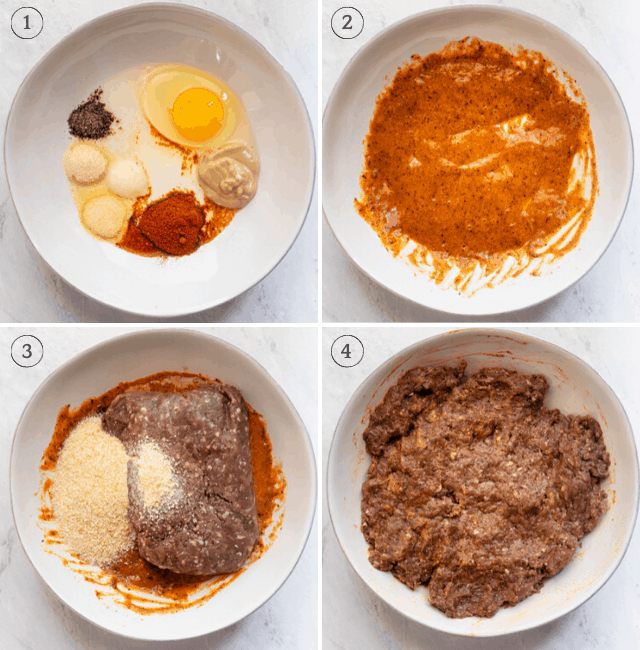 Process shots to show how to mix the ingredients step by step