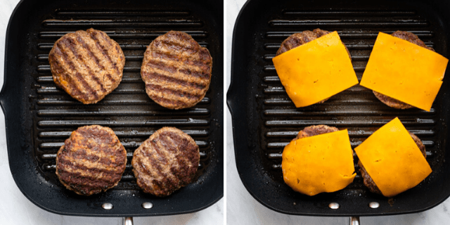 Collage of a grill pan with the cooked patties, and then topped with cheese