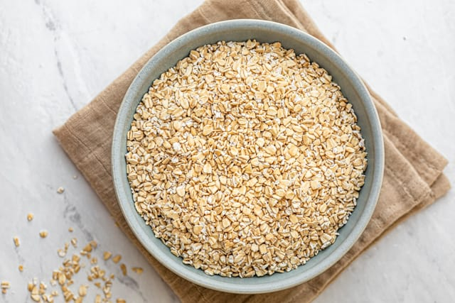 Bowl or raw uncooked steel cut oats