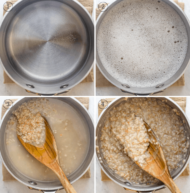 Process shots to show how to make the recipe in a small saucepan