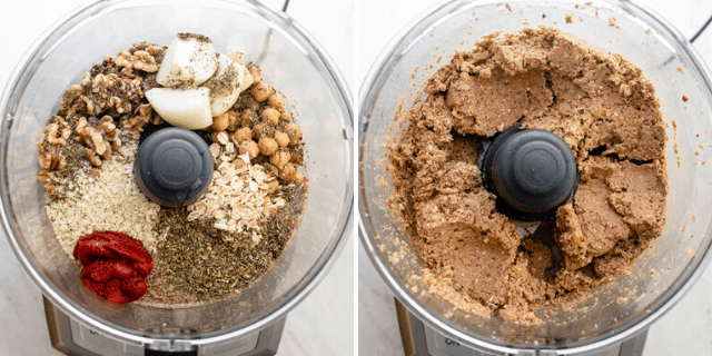 Process shots to show all the ingredients in food processor before and after mixing.