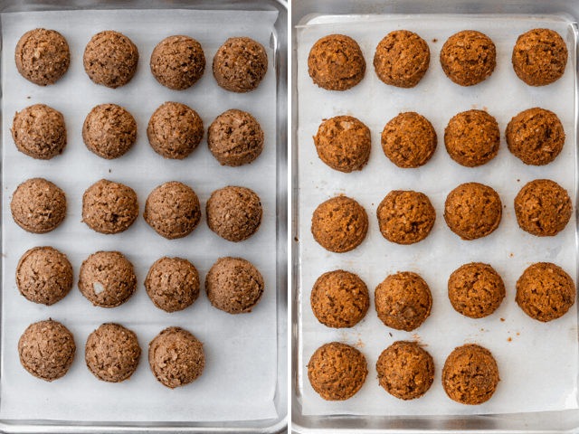 Baking tray with the meatballs before and after baking