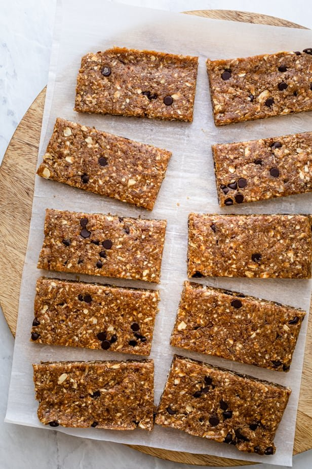 Vegan protein bars after setting in the freezer and cut into bars