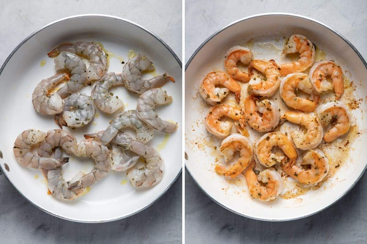 2 image collage to show the shrimp before and after cooking