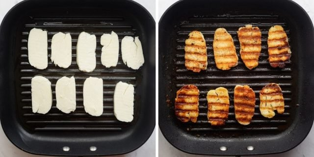 Grill pan showing how to grill the halloumi before and after grilling