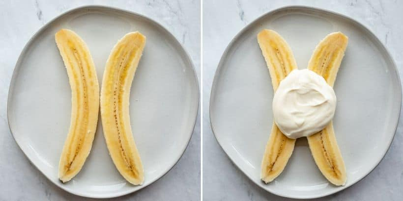 Collage or two images showing the split banana and then topped with the yogurt/honey mixture