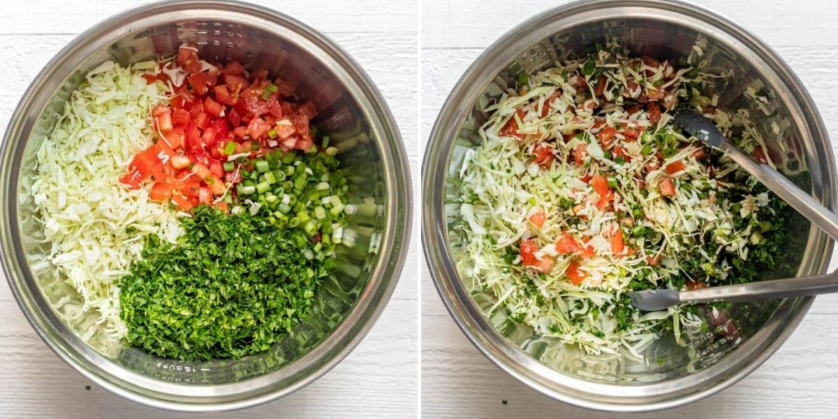 Process shots to show the ingredients in bowl before and after mixing