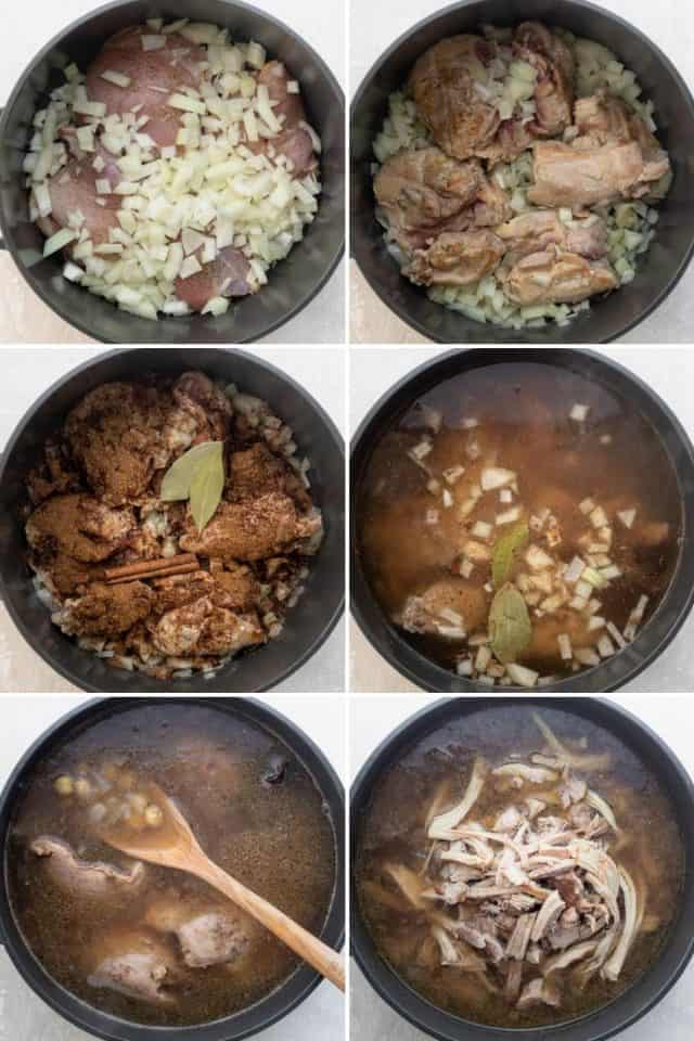 Process shots to show how to cook the chicken broth