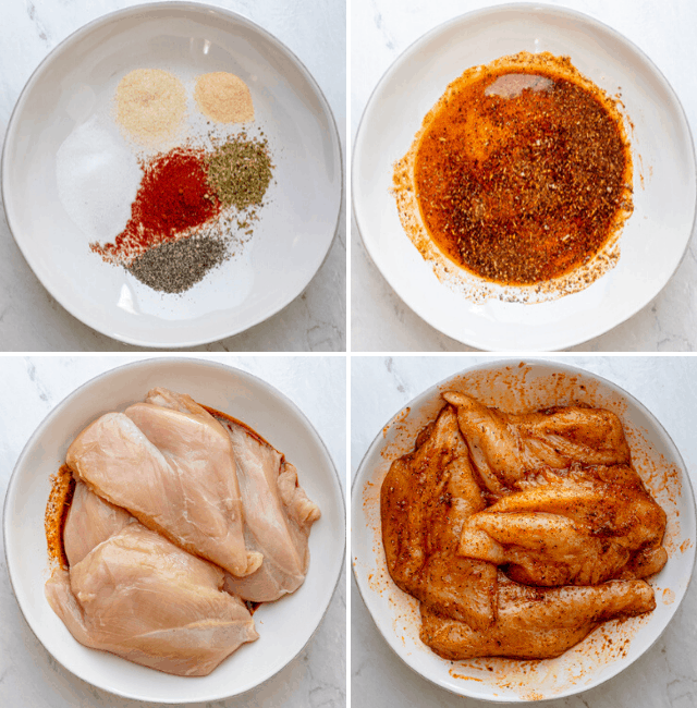 Process shots to show how to marinate the chicken