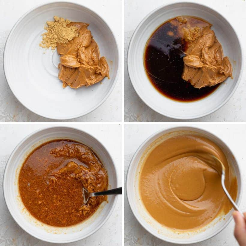 Process shots to show how to make the peanut sauce