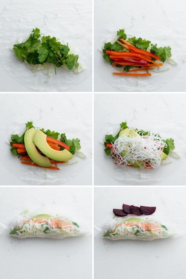 Process shots to show how to add the vegetables to the spring roll