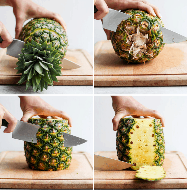 Step by step photos to show how to cut a pineapple