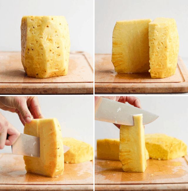 Continued step by step photos to show peeled pineapple, followed by cutting in half and cutting in quarters