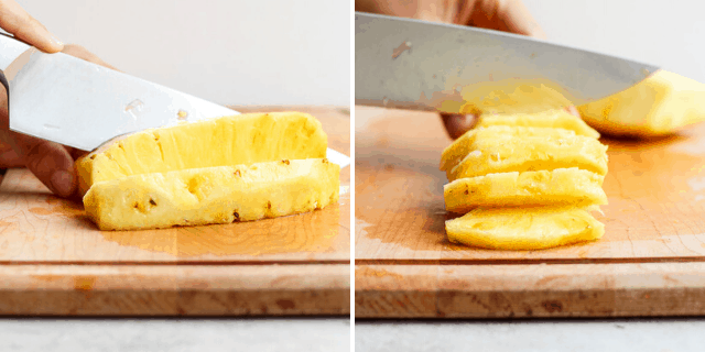 Cutting pineapple in sticks or in wedges