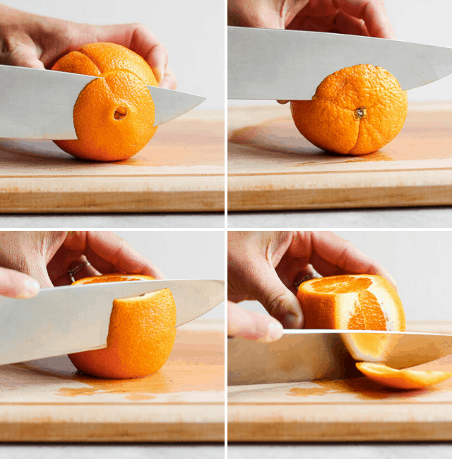 Step by step shots for how to peel an orange before segmenting