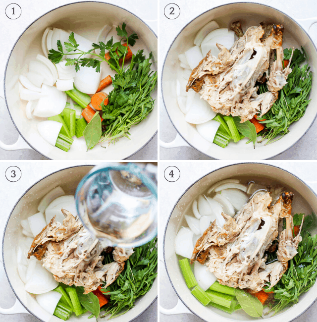 Step by step shots for how to cook chicken stock on stovetop