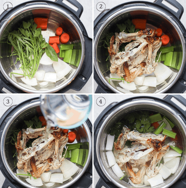 Step by step shots for how to cook chicken stock on instapot