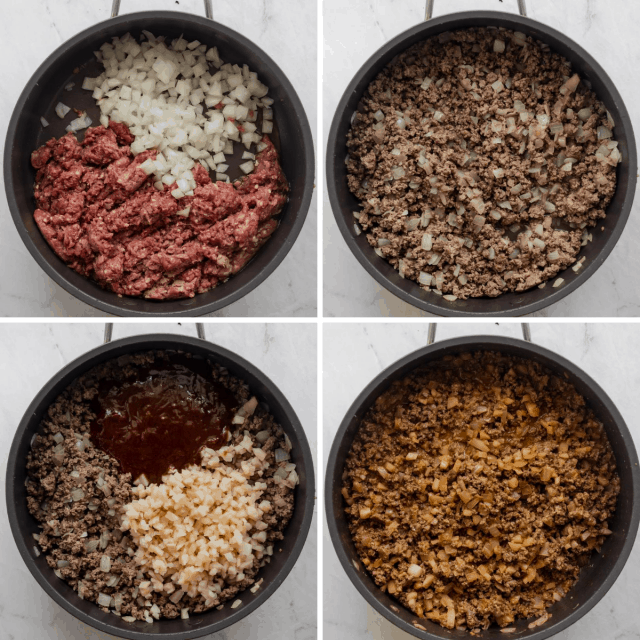 Process shots to show how to make the ground beef mixture