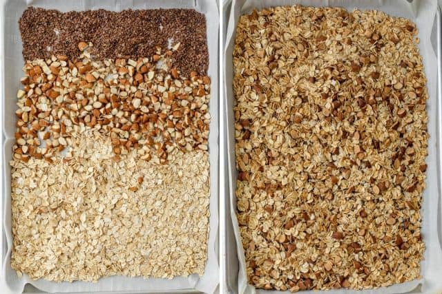 2 photos of the dry ingredients on baking tray before and after toasting