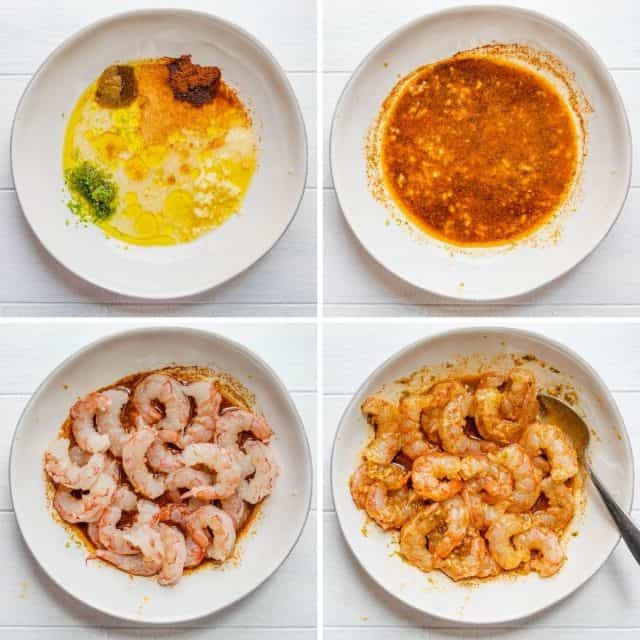 Steps to show how to make the marinade and mix with the shrimp all in one bowl