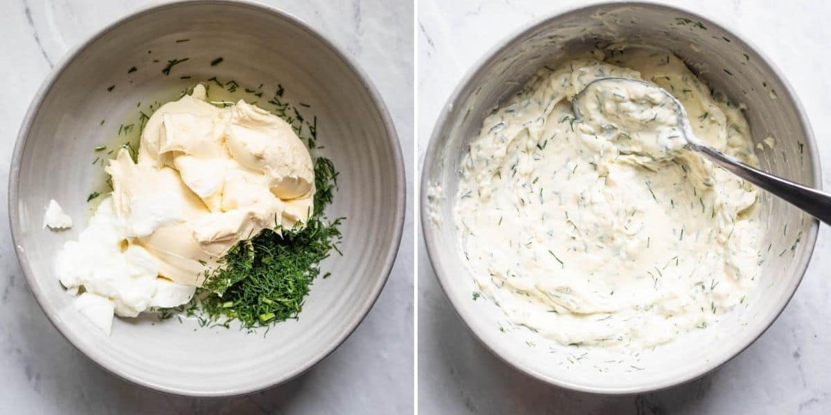 Collage of two images showing the ingredients to make the cream cheese mixture before and after mixing