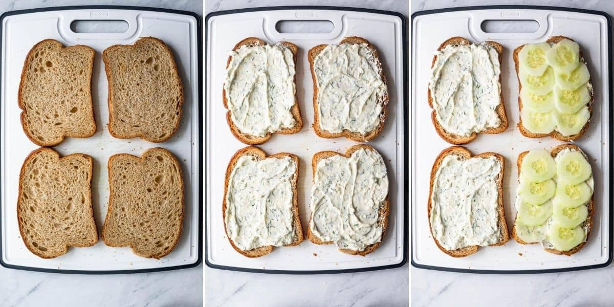 Collage of three images showing 4 slices of bread alone, then with the cream cheese mixture, then topped with cucumbers