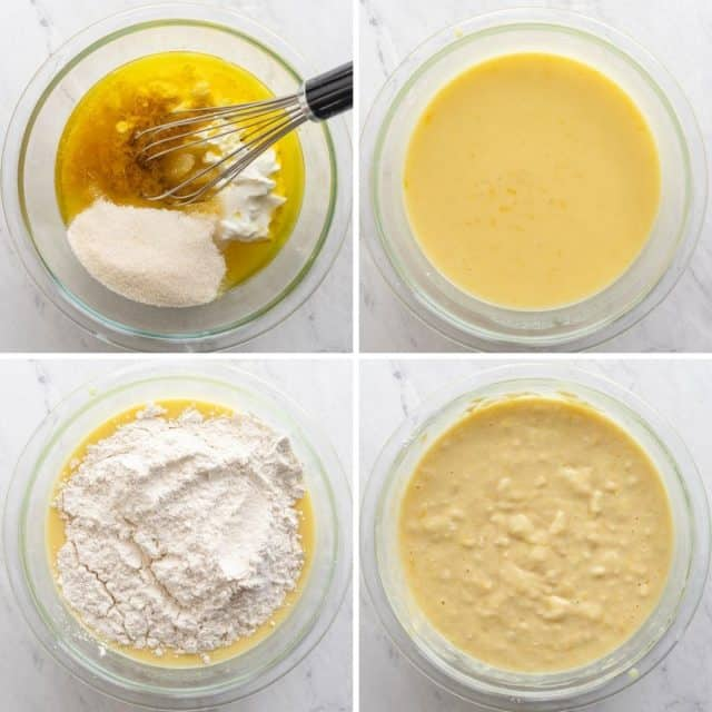 Step by step shots of mixing the recipe together in one bowl