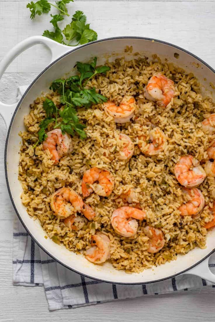 One pan shrimp and rice topped with cilantro