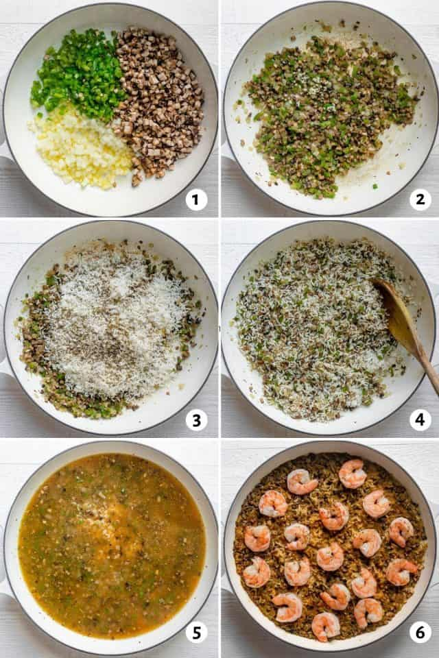 Steps for how to cook the vegetables, then add rice and spices, followed by broth and finally shrimp