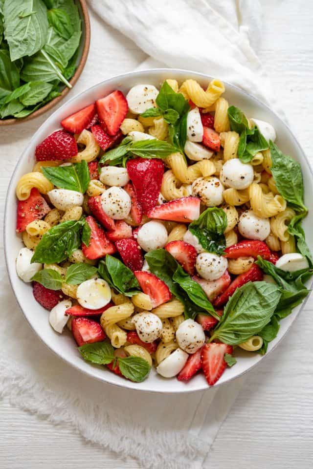 Caprese salad made with strawberries instead of tomatoes
