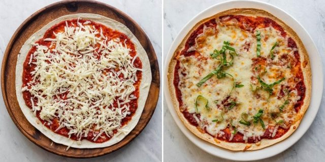 Collage of cheese pizza before and after cooking