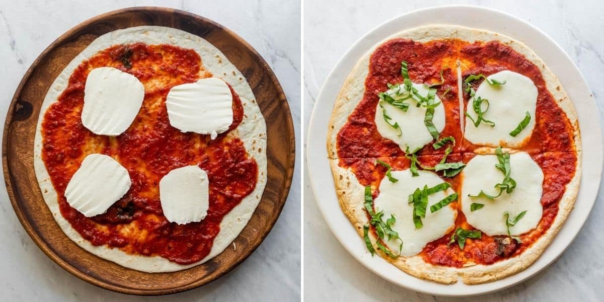 Collage of margharita pizza before and after cooking