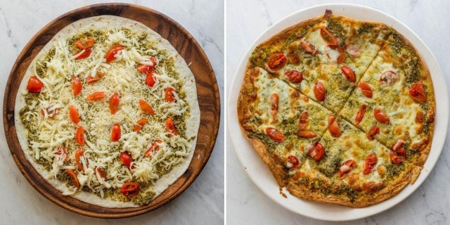 Collage of pesto pizza before and after cooking