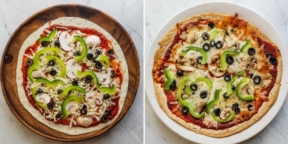Collage of vegetarian pizza before and after cooking