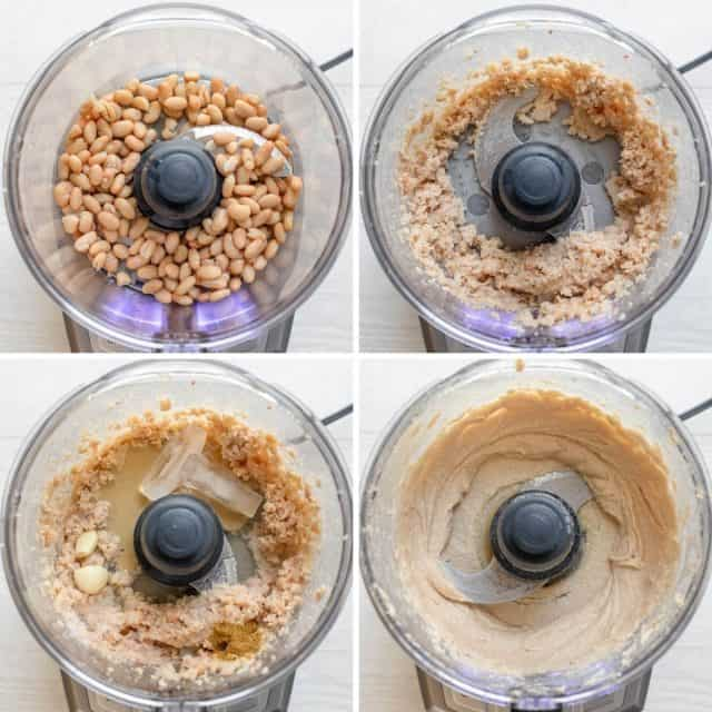 Process shots to who 4 steps of how to make the recipe in a food processor