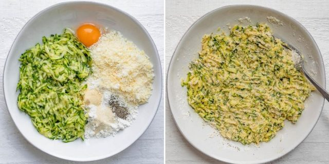Process shots to show ingredients in a bowl before and after mixing
